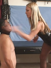 Asian male slave tortured by spanking his face