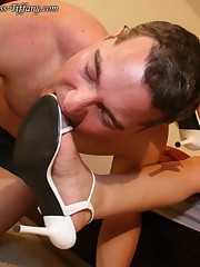 The submissive boy licked white heels