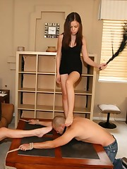 Two mistresses punished malesub by their feet