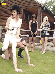 Riding chicks dominated man outdoor
