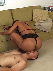 Wicked Sinnamon Love reveals her gorgeous ebony ass and forces her sub-boy to inhale her stinky asshole