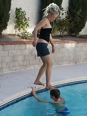 Mistress didn't allow malesub to got out from the pool