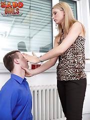 Blonde wife slaps submissive husband