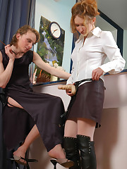 female clothed strapon couple