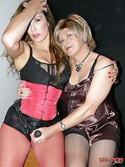 Strapon mistress with her whore man