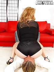 Blond slut stacked man's nose to her ass hole.