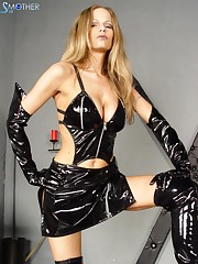 Sexy mistress in latex came to her bound slave.
