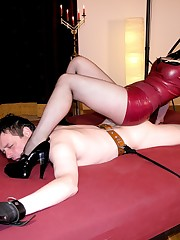 Two mistresses tormented man in the dungeon