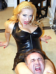 Latex mistress smothered and dominated boy by feet