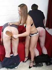 The domme punished two boys