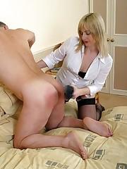 Blonde wife spanking man
