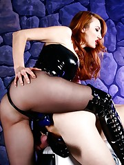 Mistress Kendra James pounds her humbled doxy into submission with her strap-on cock