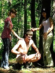CFNM handjob in the wood