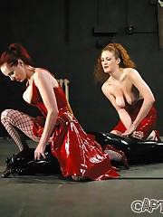 Two latex mistresses torture malesub