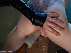 Cute mistress was fingering man and made him lick her.