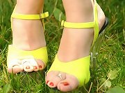 Heels in the grass