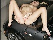 Exhibitionism lady shows feet inside a car