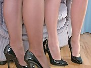 These gorgeous blondes are showing off their great high heels.