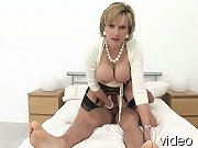 Busty mature sonia mounts huge cock