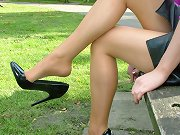 Sexy outdoor shoot of a horny babe showing off her high heels