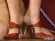 Strict ladies order their slave to suck heels before they start trampling his body