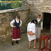 Bad maid tied to the bench and whipped
