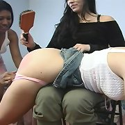 Bad teen girl gets spanked by hairbrush