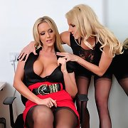 Hot bitch boss torments and forces her hot blond..