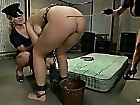 Beverly falls short on her payments, the bitch cops punish her with rough bondage sex!