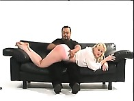 Blonde playgirl was spanked OTK