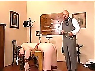 Period Headmaster restrains & severely canes naked student