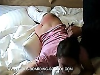 A painful wake up - the hairbruch on a cute beauties undressed bottom