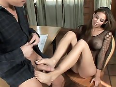 Hot babe Ryder Skye gets down on her knees to suck off a huge dick after a sexy foot job