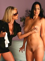 Secret Agents Carolyn Reece, Jelena Jensen and Natali Demore in a lesbian strapon battle