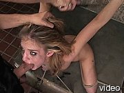 Tit torture for bound blonde.