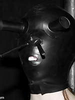 Masked submissive tormented and fucked