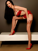 Emily Marilyn in red satin & high heels