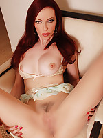 Emily Marilyn hot XXX dildo action in sheer pantyhose and heels