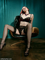 Emily Marilyn sultry redhead on touching stockings & heels