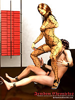 Illustrated femdom fiction with watersports, smothering and plenty of strap-ons