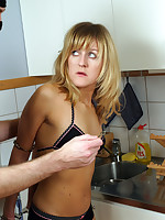 Bondage virgin bound in the kitchen
