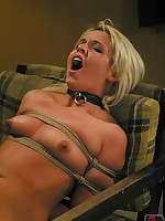 Blonde gets tied to a chair and sexually used