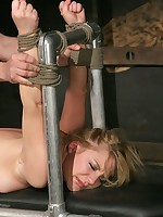Aurora Snow in bondage with tormented cunt and fucked hard