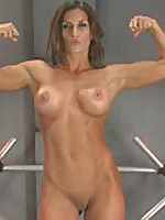 Muscle & fitness porn star, Ariel X, flexes, stretches, spreads & clenches be advisable for her sex equipment