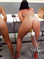 Three hotties bend over for a turn on the anal fucking machine
