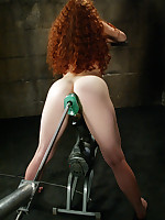 Hot redhead fucked in pussy and ass by machine