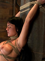 Stringent rope predicament bondage for submissive girl