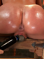 Redhead bound to a chair and forced to squirt