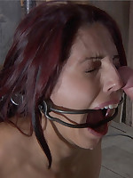 Slave endures dental gag, tits in a vise