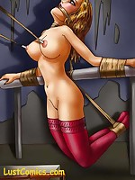 Girl-on-girl bondage and domination, comic book style